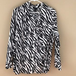 Lane Bryant cotton zebra print blouse Sz 22